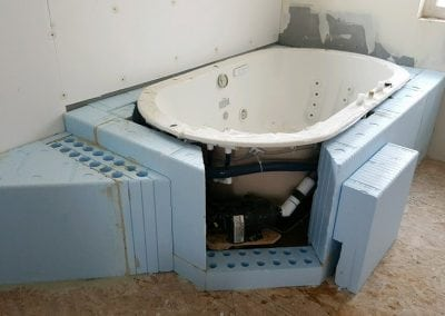 tub during install